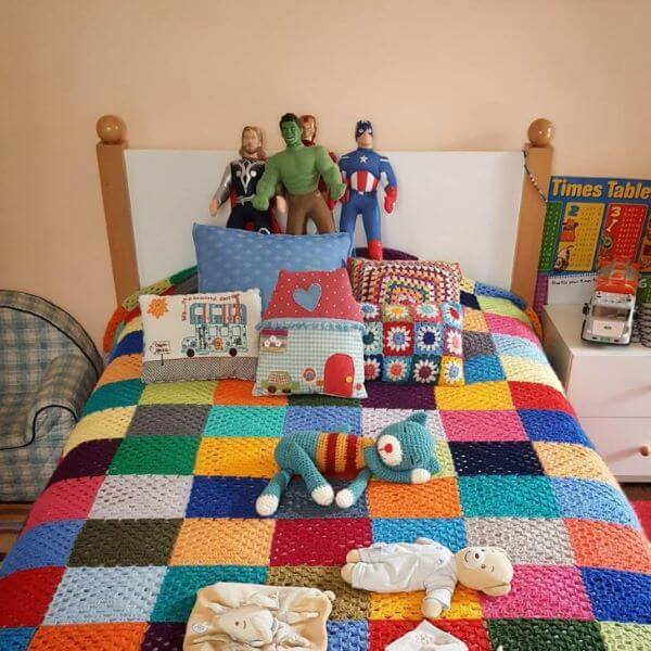Single and colorful crochet bedspread for children's room