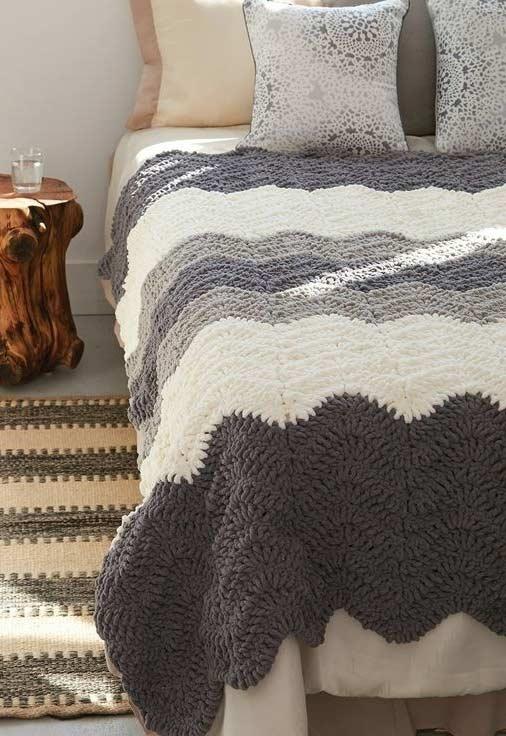 Crochet bedspread in shades of gray