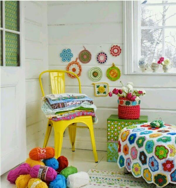 Crochet quilt for colorful bedroom