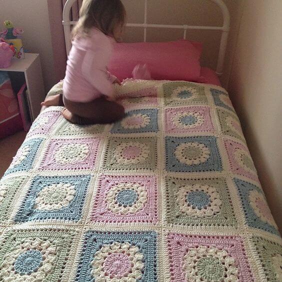 Crochet bed coverlet for children's room