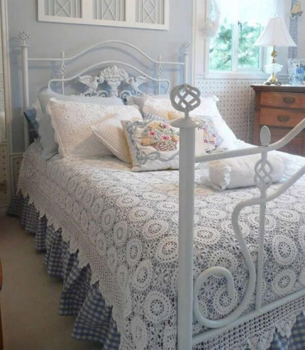 White crochet bedspread with bed