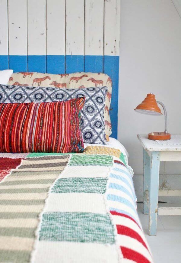 Couple crochet bedspread in red, blue and white
