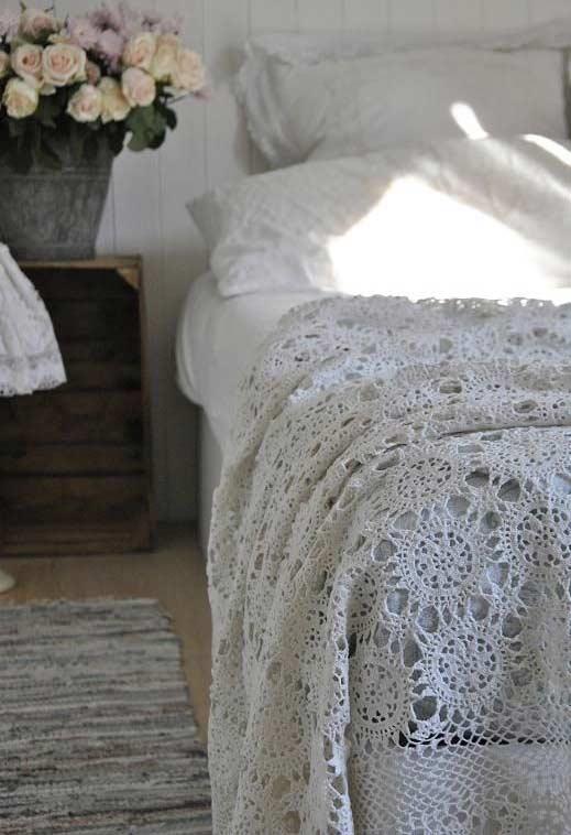 Crochet couple bedspread