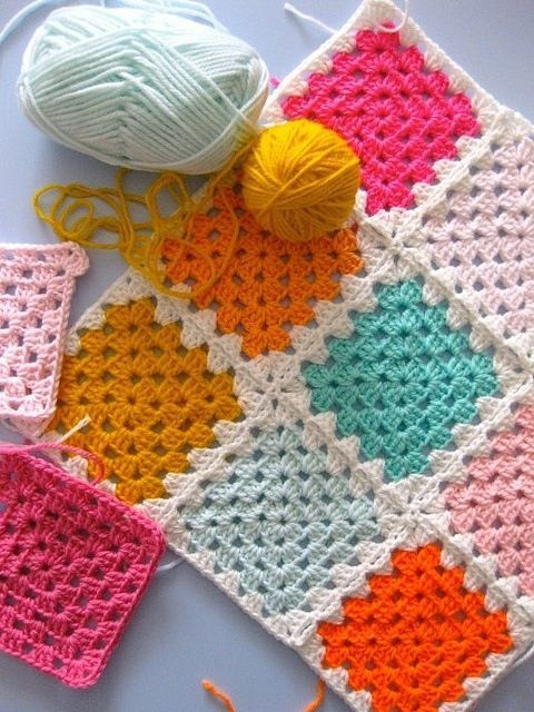 Crochet quilt in squares