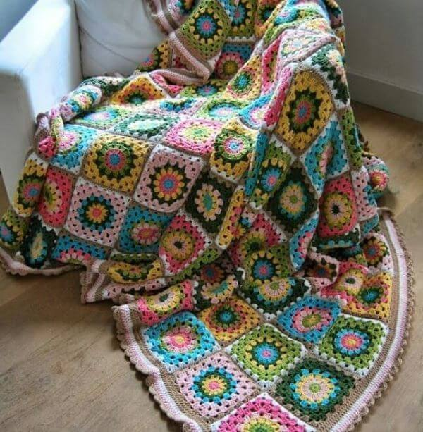 Colorful crochet quilt in squares