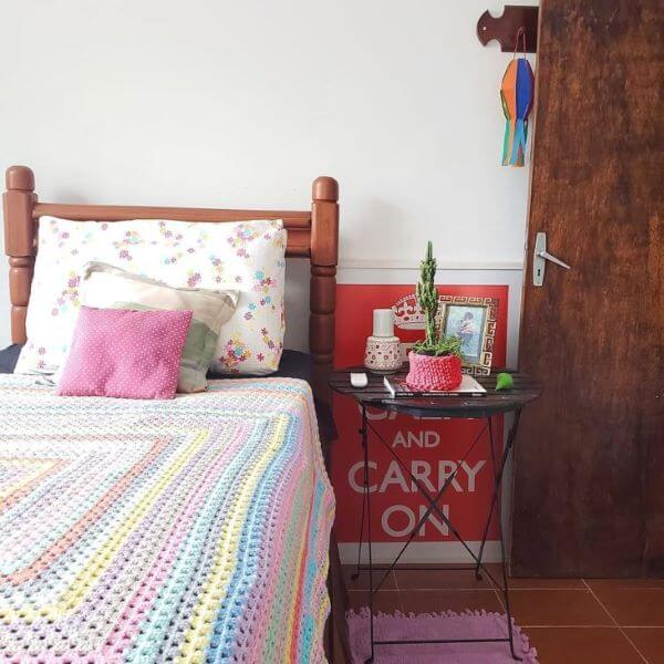 Colorful crochet quilt for bedroom