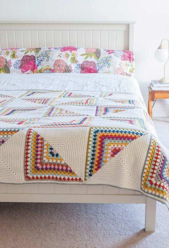 Colorful crochet quilt