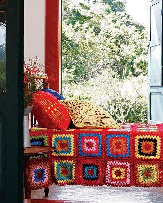 Colorful square bedspread