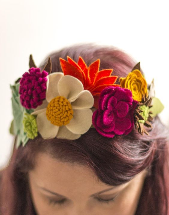 Hair tiara made with different felt flowers