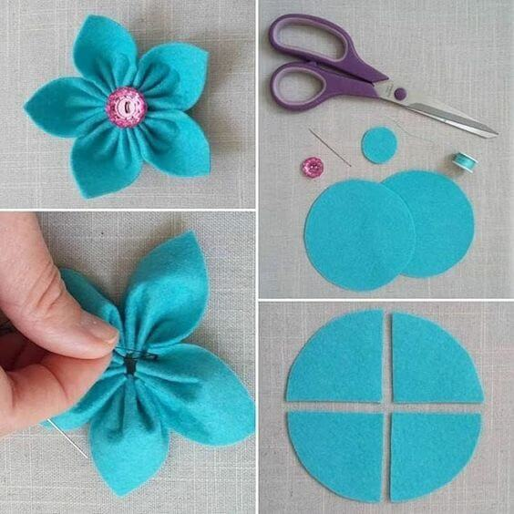 Blue felt flower with pink bud