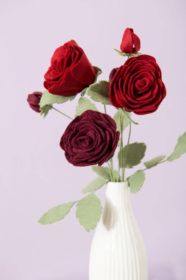 Felt roses with white vase