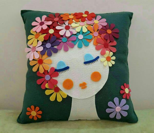 Colorful felt flower cushion