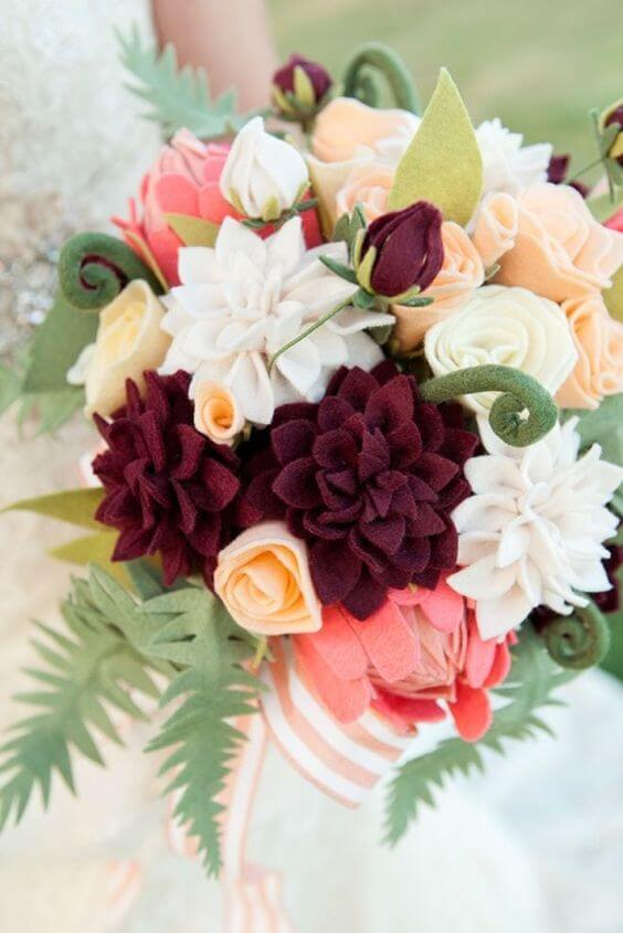 Red, pink and white felt flower bouquet