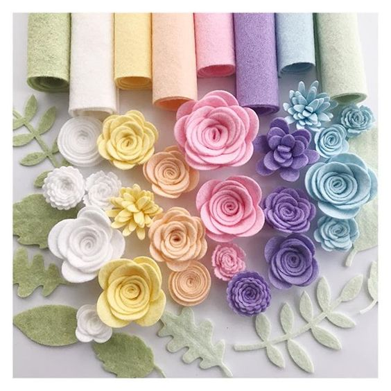 Colorful felt flower to decorate home
