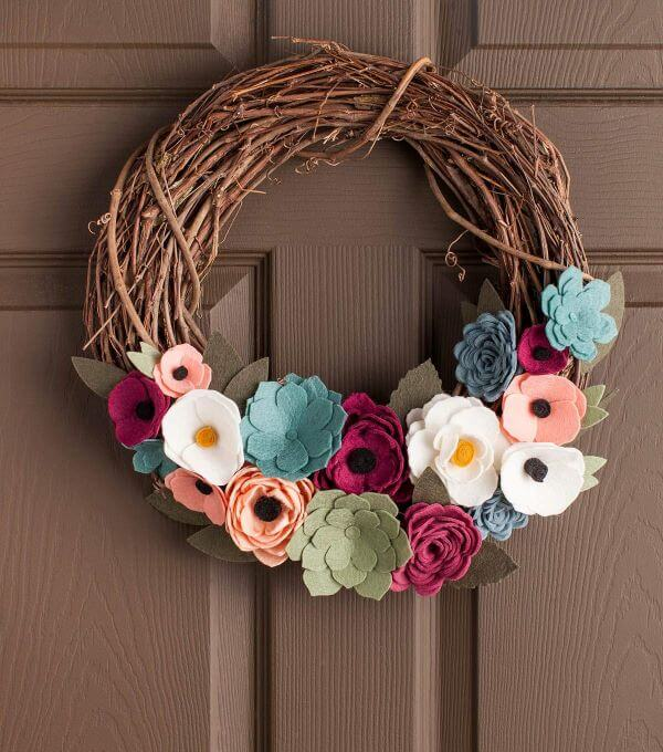 Door decoration with felt flower