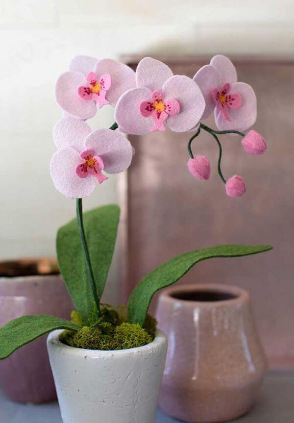 Felt lilac orchid flower