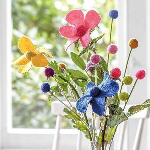 Colorful felt flower