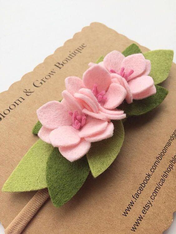 Pink felt flower