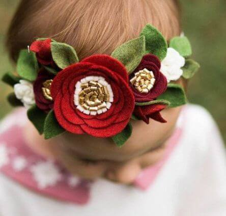 Red felt flower headband