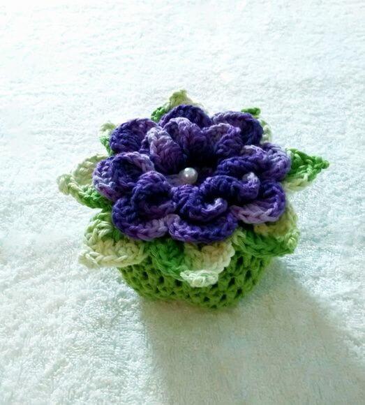 Crochet door weight with flower
