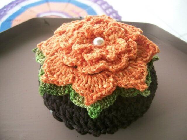 Crochet door weight with flowers
