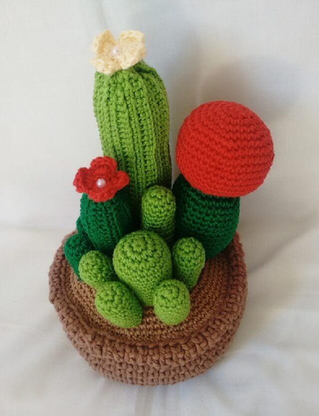 Colorful cactus crochet door weight