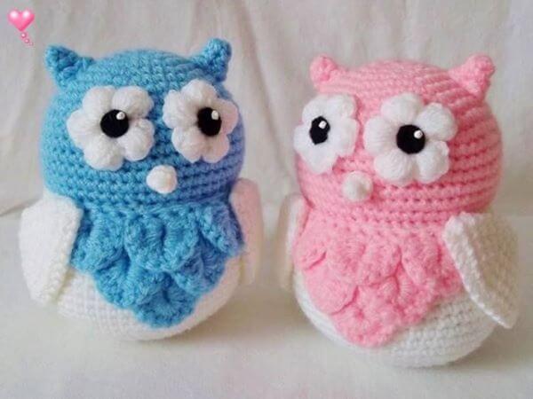 Colorful owls for crochet door weight