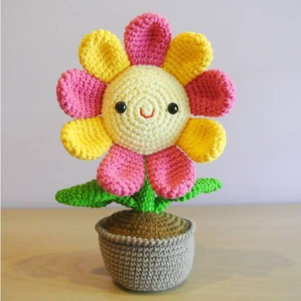 Crochet door weight with flower for kitchen