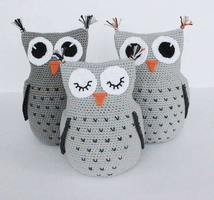 Trio of owls to use as door weight