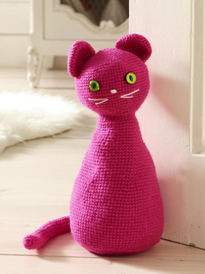 Pink crochet door weight
