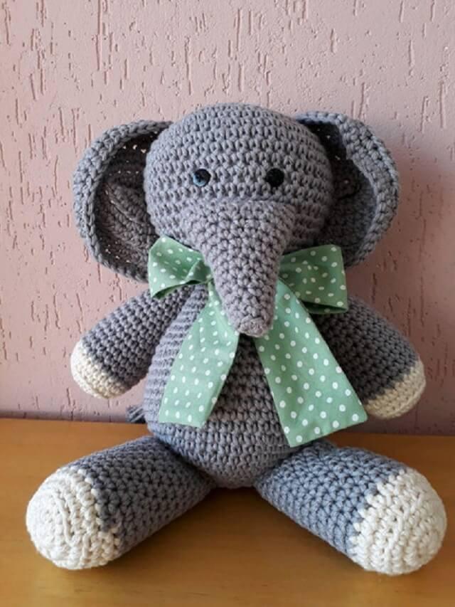 Elephant crochet door weight