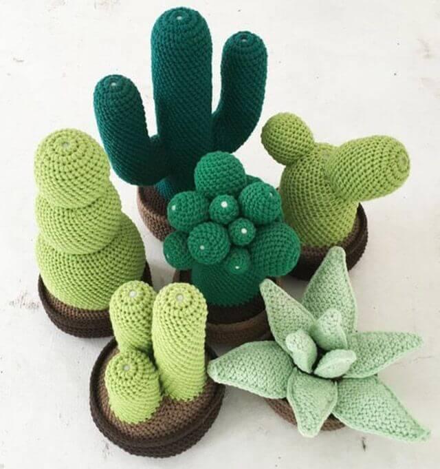 Cactus crochet door weight