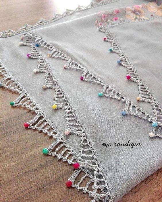 Crochet beak with colored stones