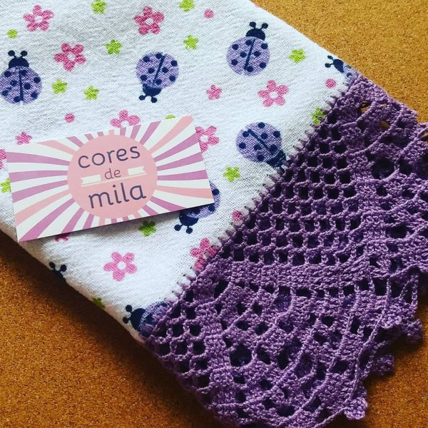 Purple crochet nozzle for baby washcloth