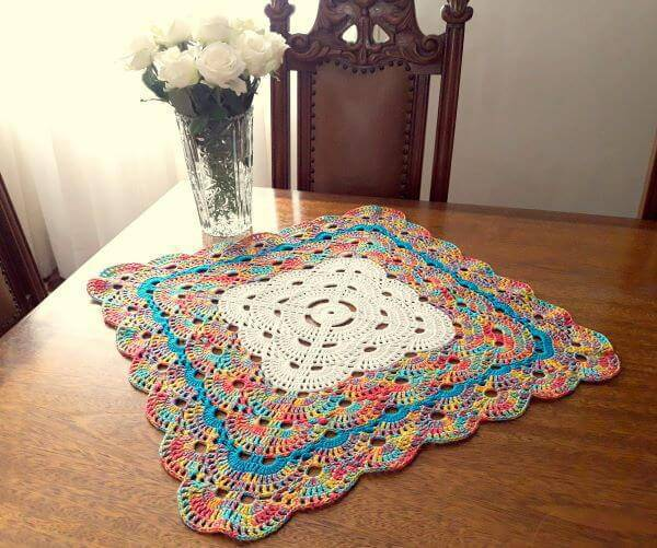 Square and colorful crochet centerpiece