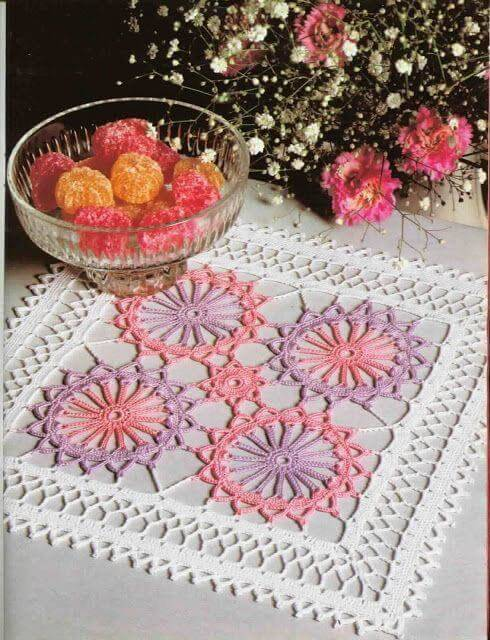 Square centerpiece with pink and purple