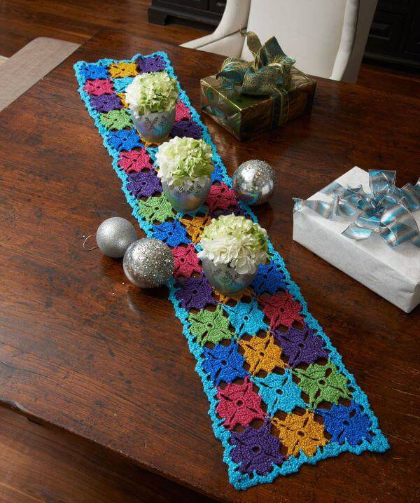 Colorful crochet table walk