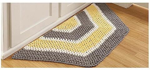 Crochet hexagon crochet kitchen rug Photo by Leisure Arts