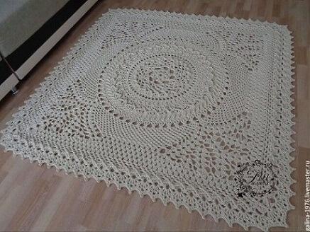 Crochet square kitchen rug