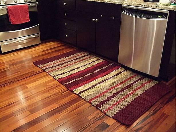 Striped rectangular crochet kitchen rug
