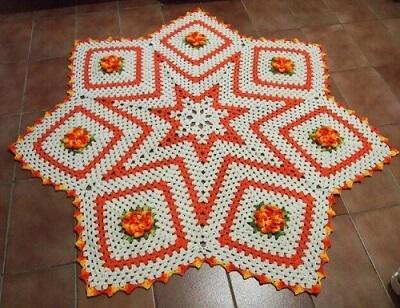 Orange star crochet kitchen rug