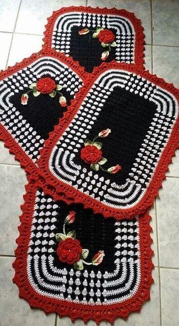 crochet rug for kitchen - white, red and black rug