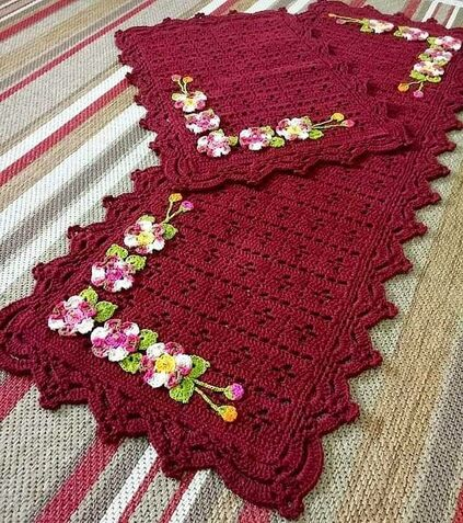 crochet rug for kitchen - carpet with flower row
