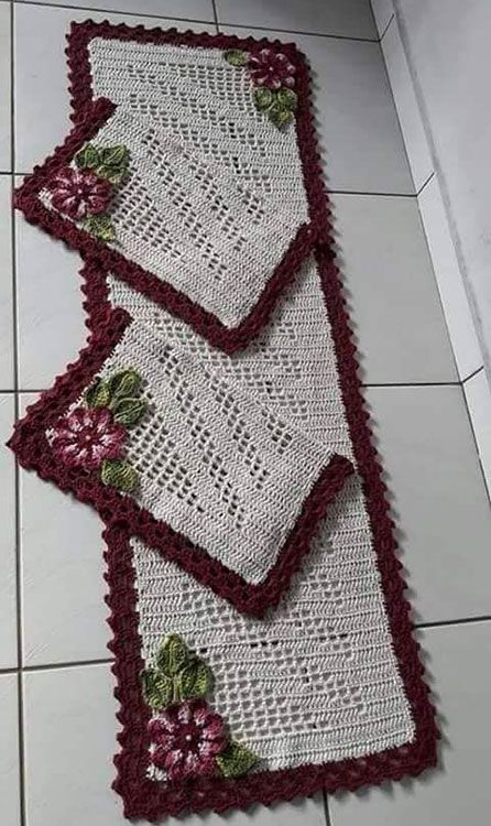 crochet rug for kitchen - carpet with flowers