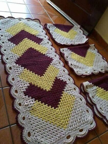 crochet rug for kitchen - carpet with yellow details