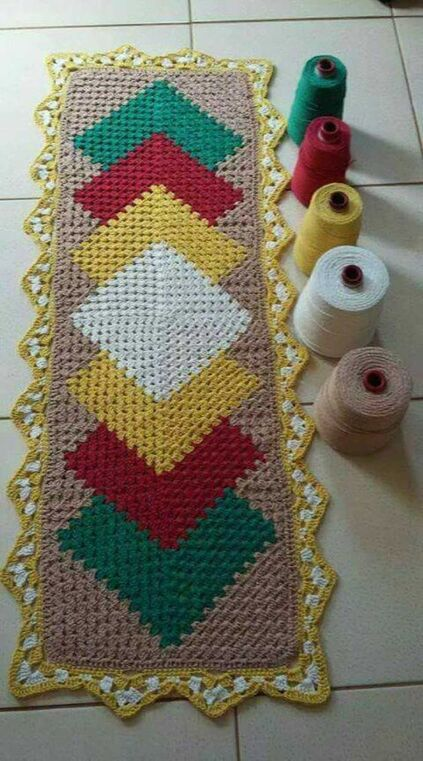 crochet rug for kitchen - colorful crochet rug