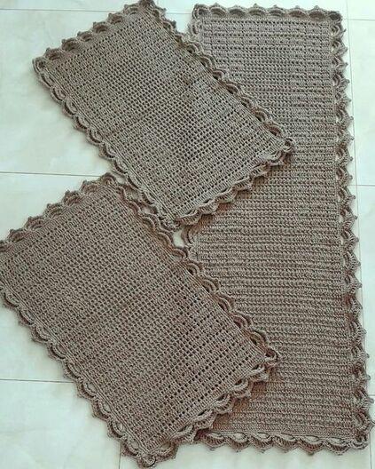 crochet rug for kitchen - simple dark rug