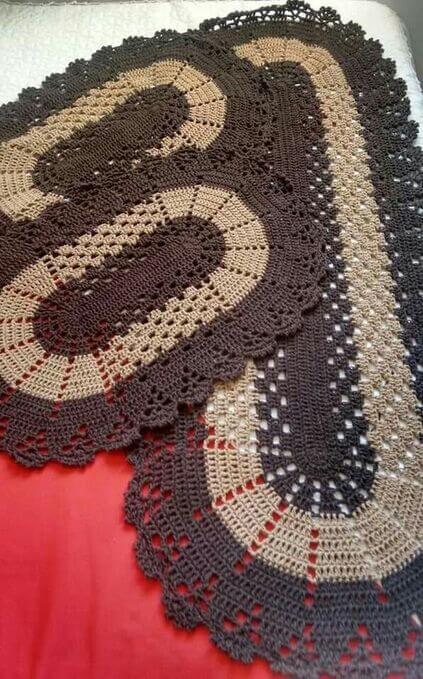 crochet rug for kitchen - oval brown rug