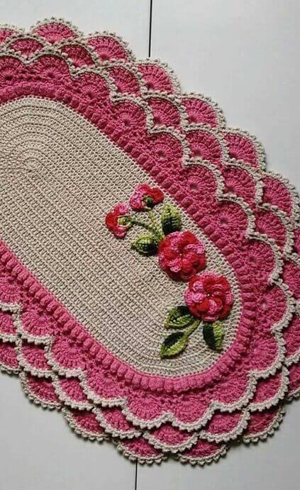 crochet rug for kitchen - pink ruffled rug