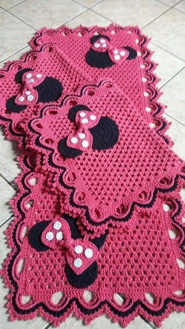 crochet rug for kitchen - pink minnie rug